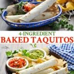 Long collage of baked taquitos
