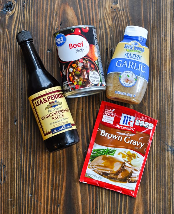 Ingredients for mushroom gravy with beef tips