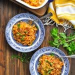 Long overhead shot of two bowls of 5 Ingredient Cabbage Casserole
