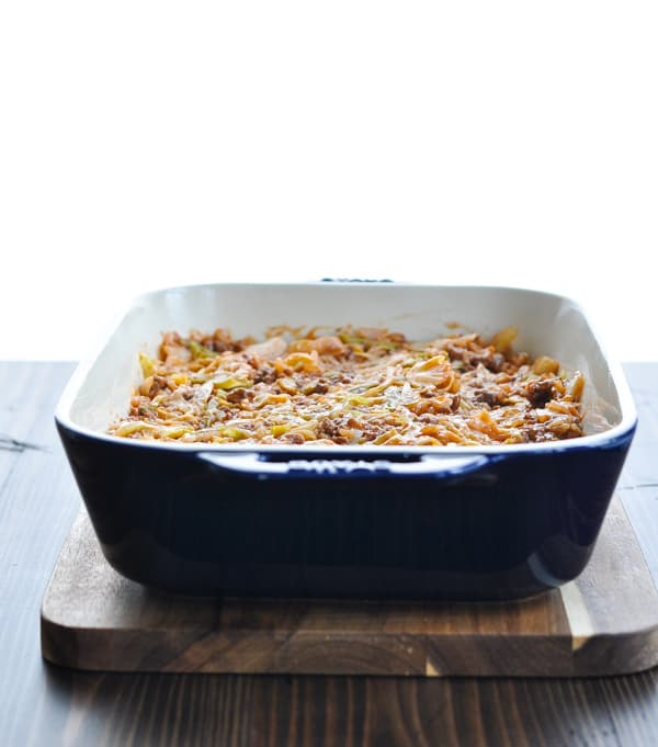 Cabbage casserole in baking dish before it goes in the oven
