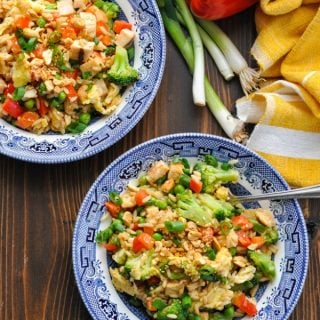 Overhead image of two bowls of chicken fried rice
