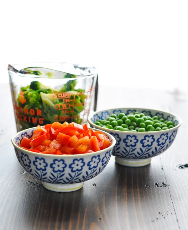 Bell peppers, broccoli and peas for chicken fried rice