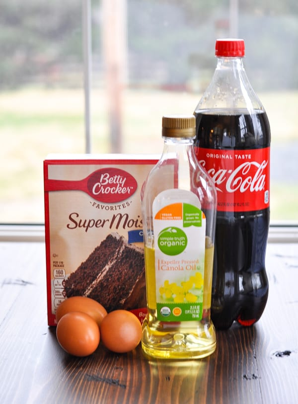 Cake mix and other ingredients for Coca Cola Cake