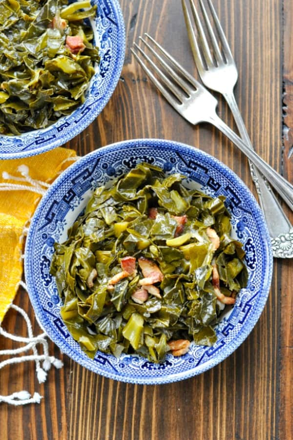 Overhead shot of one blue willow bowl full of southern collard greens
