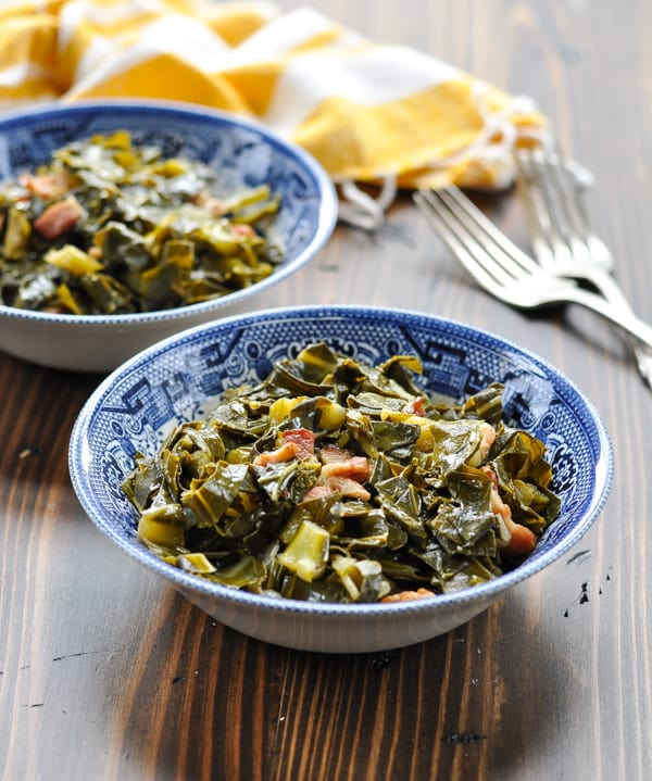 Front view of blue willow bowl of southern collard greens