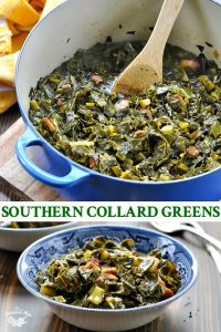 Long collage image of Southern Collard Greens recipe