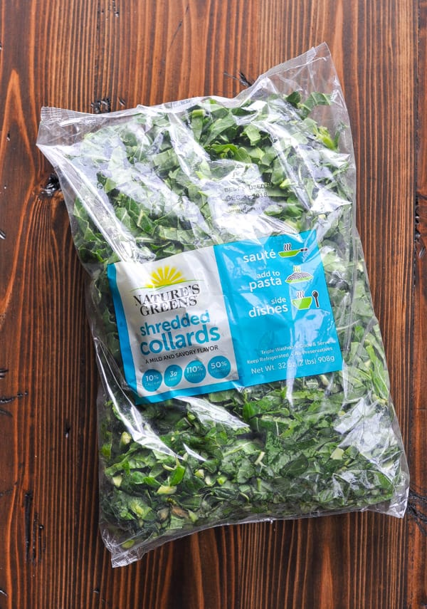 Bag of washed and trimmed fresh collard greens