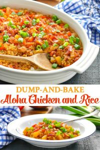 Long collage of Dump and Bake Aloha Chicken and Rice