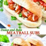 Long collage of 5 Ingredient Meatball Subs
