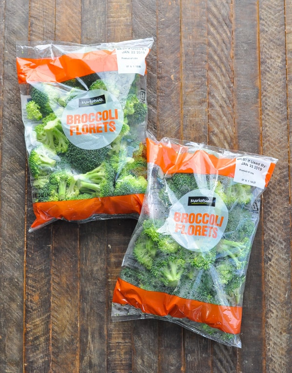 two bags of broccoli florets