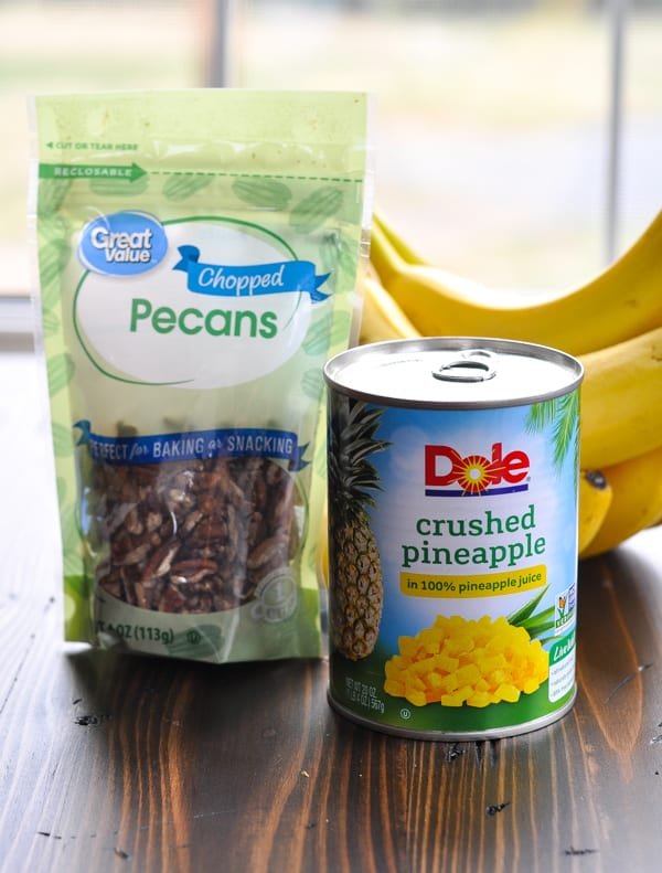Banana, pecans and pineapple for hummingbird cake