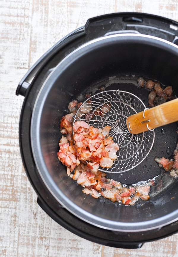 Frying bacon in Instant Pot for Lentil Soup recipe