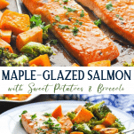 Long collage image of maple glazed salmon with sweet potatoes and broccoli