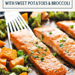 Maple glazed salmon on a sheet pan with text title box at top