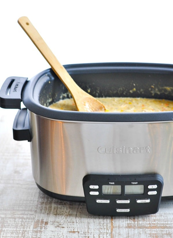 Crock Pot full of Corn Chowder with Chicken and Bacon