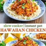 Long collage of Hawaiian Chicken with rice