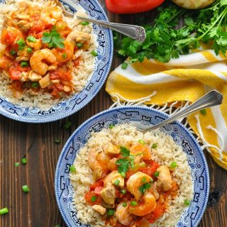 Overhead shot of two bowls of Instant Pot Jambalaya with Chicken and Shrimp!