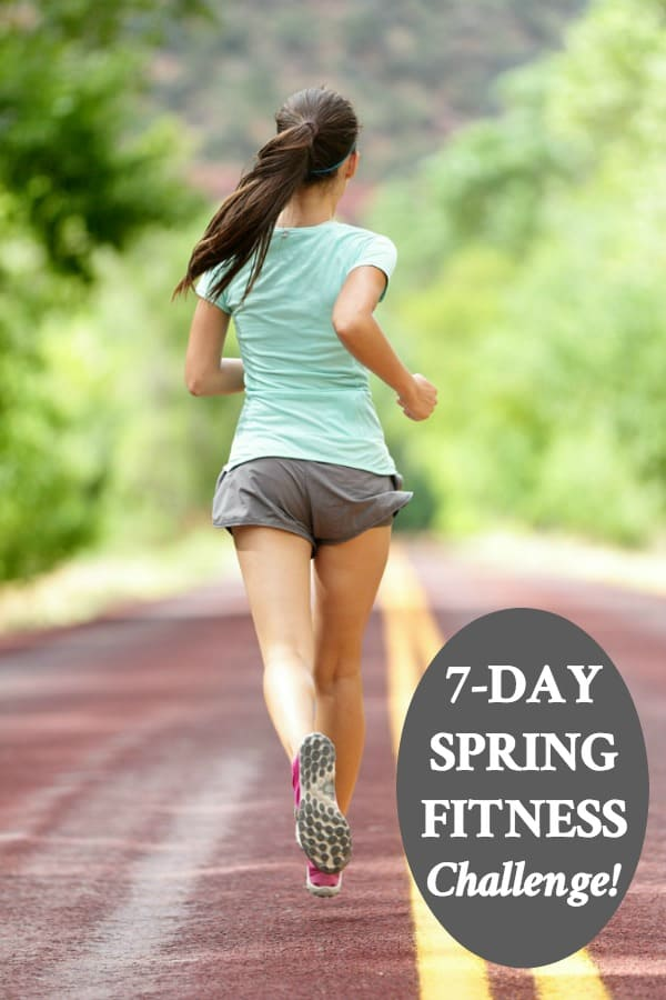 Girl running for Spring Fitness Challenge with text overlay