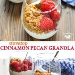 Long collage of crunchy vegan Stovetop Cinnamon Pecan Granola recipe