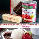 Long collage image of Strawberry Chocolate Dump Cake for Two