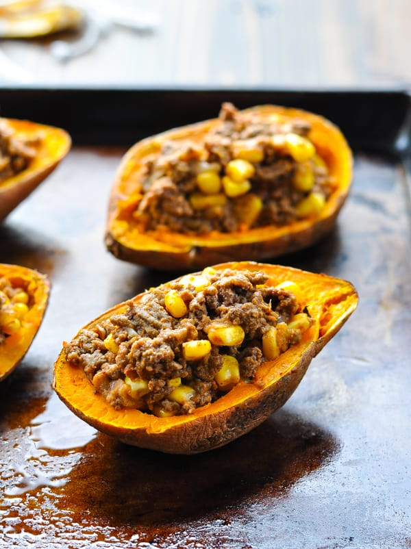 Stuffing inside baked sweet potato skins