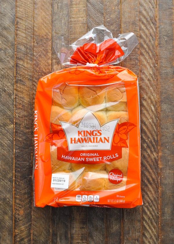 Package of King's Hawaiian rolls for tuna melt sliders