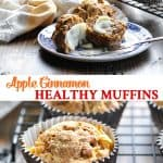 Long collage of healthy apple muffins