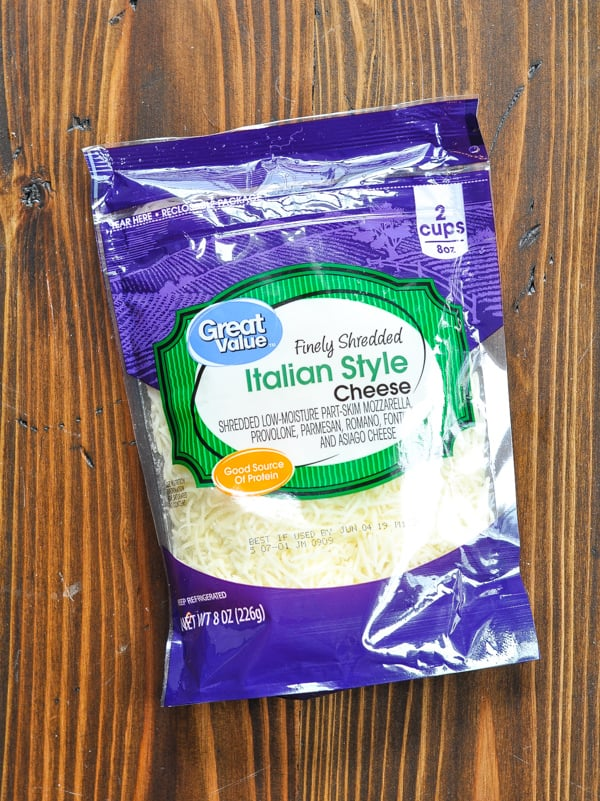 Package of shredded mozzarella cheese