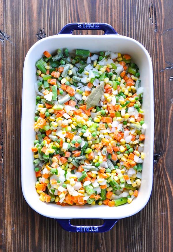 Frozen mixed vegetables in baking dish