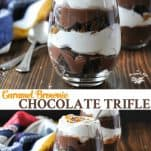 Long collage image of Easy Chocolate Trifle