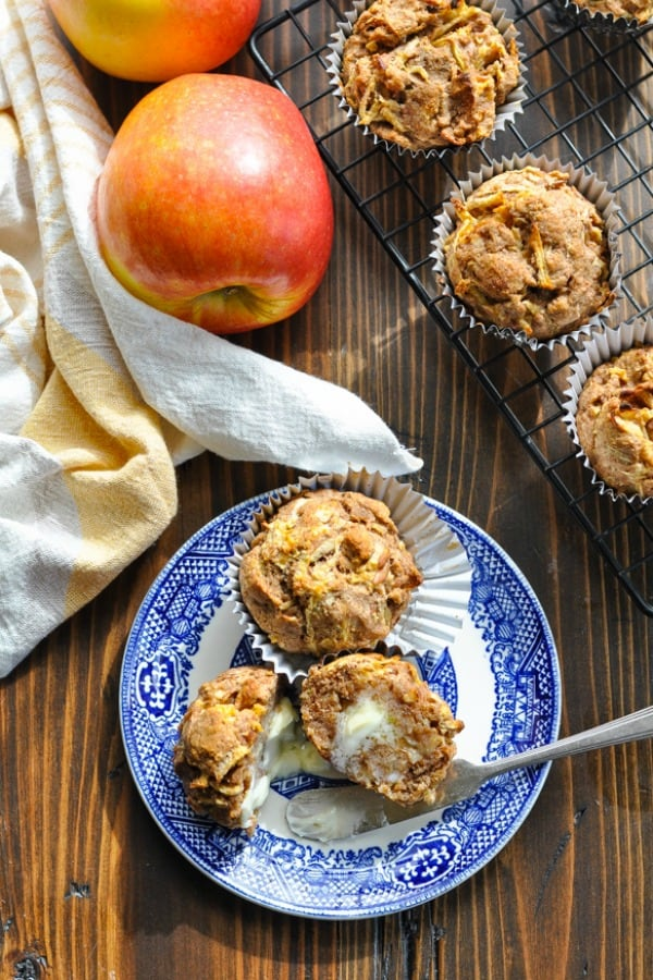 Long overhead shot of Healthy Apple Muffins on a plate