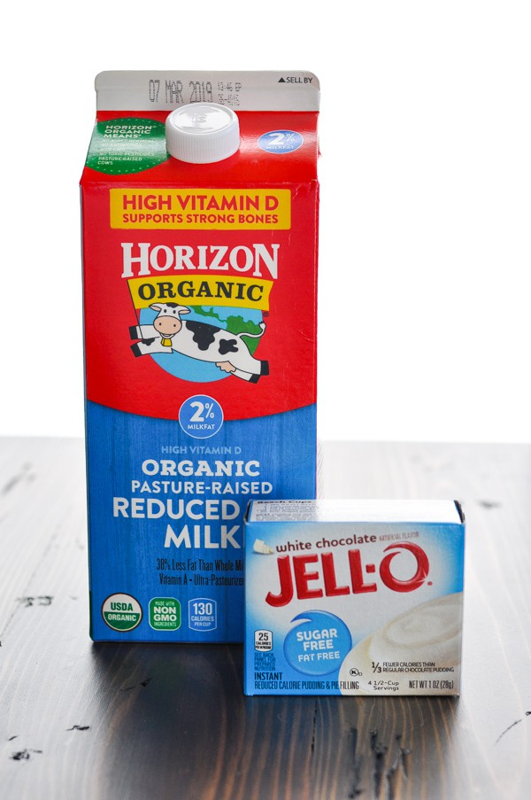 Milk and instant Jell O pudding box