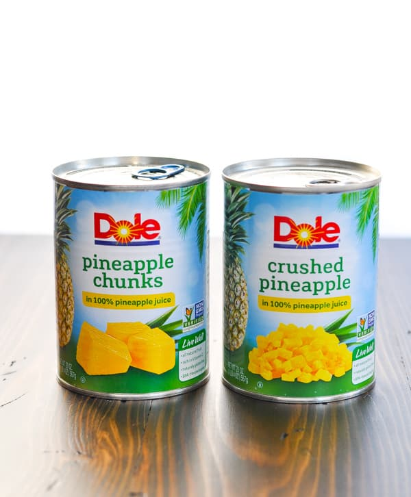 Two large cans of pineapple