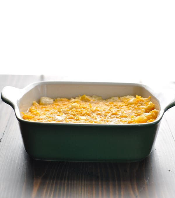 Pineapple casserole filling in baking dish