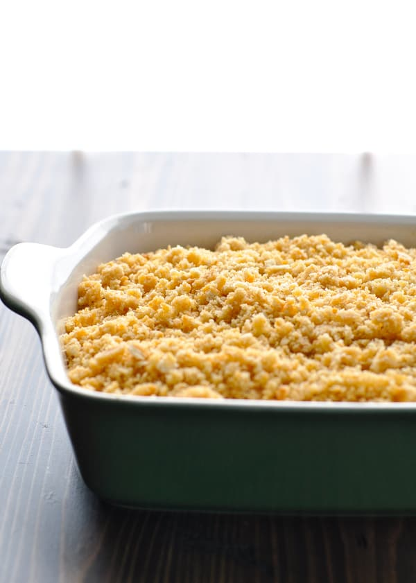 Crumb topping sprinkled on top of pineapple casserole