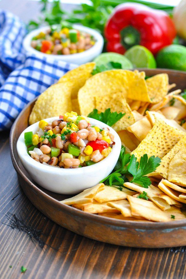 Copper tray of Texas Caviar and chips