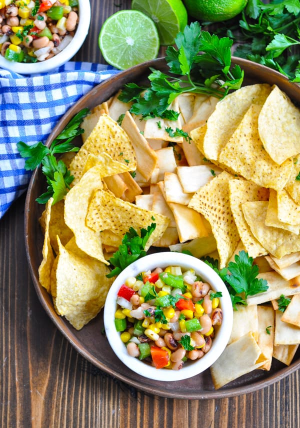 Close overhead shot of Texas Caviar and chips