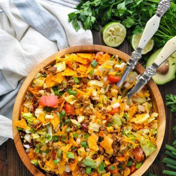 Overhead shot of bowl of Doritos Taco Salad