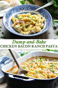 Long collage of Chicken Bacon Ranch Pasta