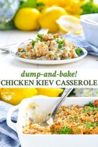 Long vertical collage of Chicken Kiev Casserole