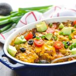 Chiles Rellenos Casserole topped with avocado