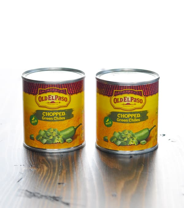 Two cans of diced green chiles