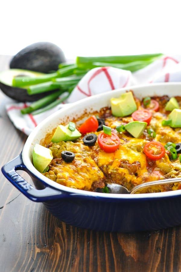 Chiles Rellenos Casserole in a blue casserole dish