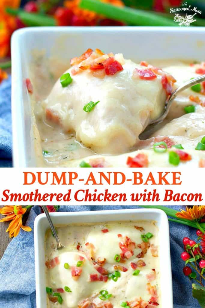 Long collage of smothered chicken with bacon