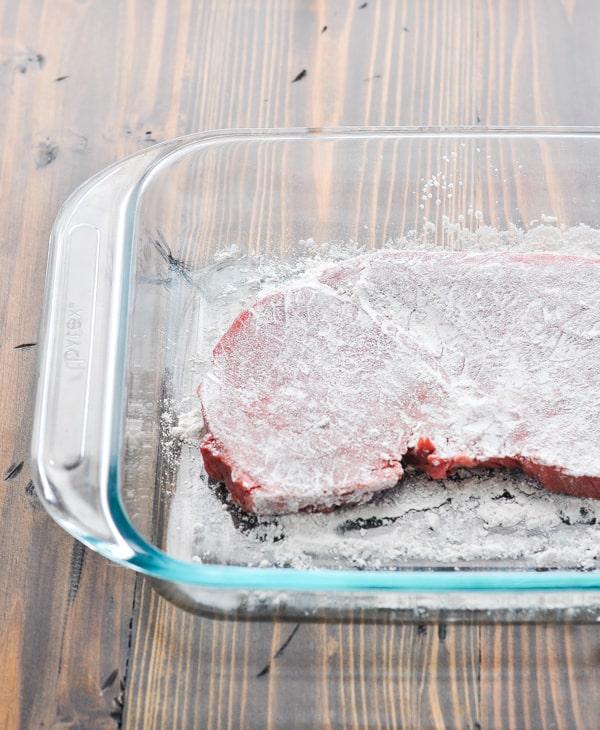 Dredging steak in flour