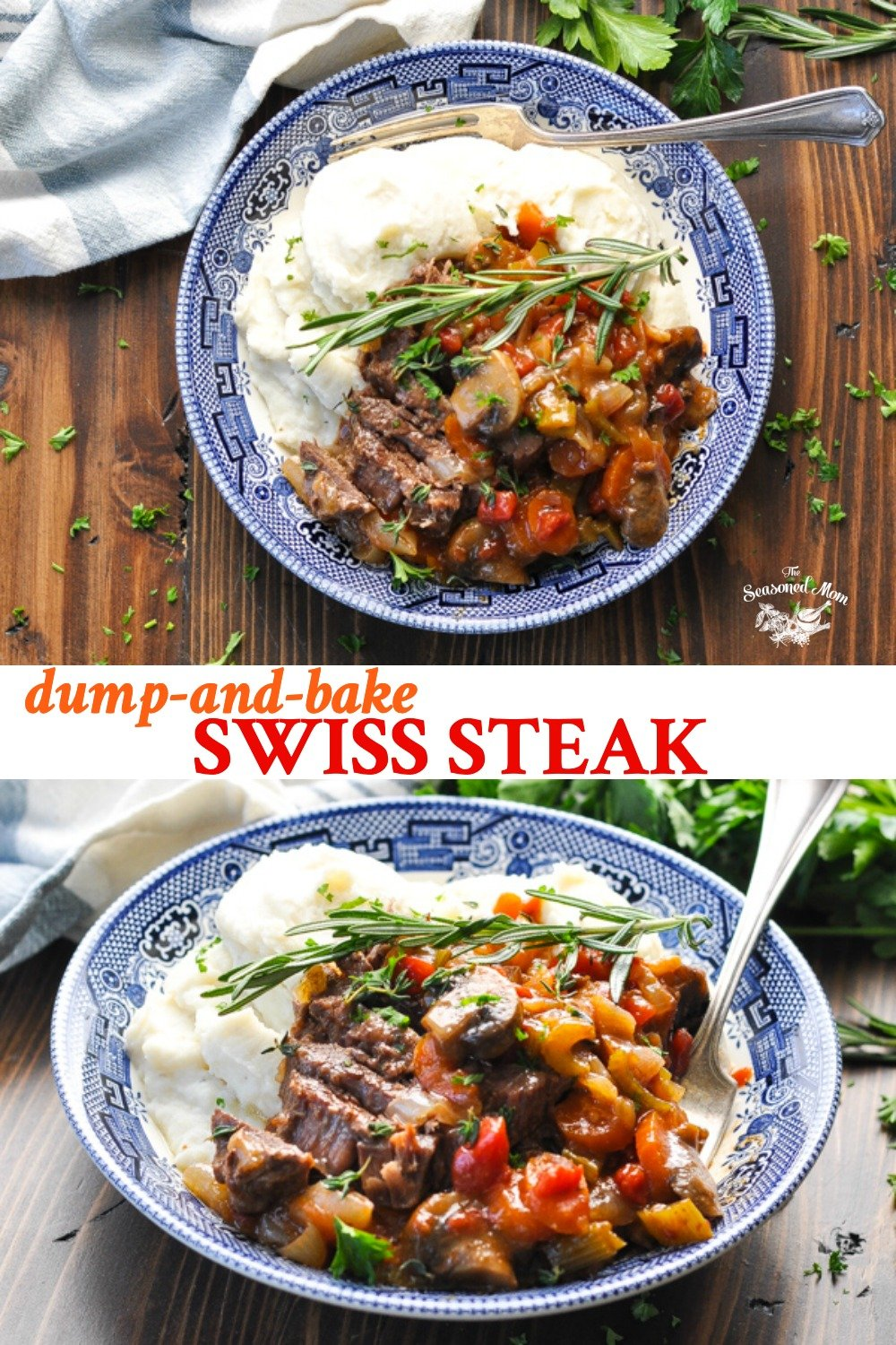 Long collage of Dump and Bake Swiss Steak
