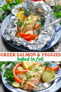 Long collage of Greek Salmon Baked in Foil with Vegetables