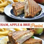 Long collage image of Ham Apple and Brie Panini Sandwich
