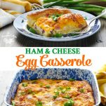 Long collage of Ham and Cheese Egg Casserole recipe
