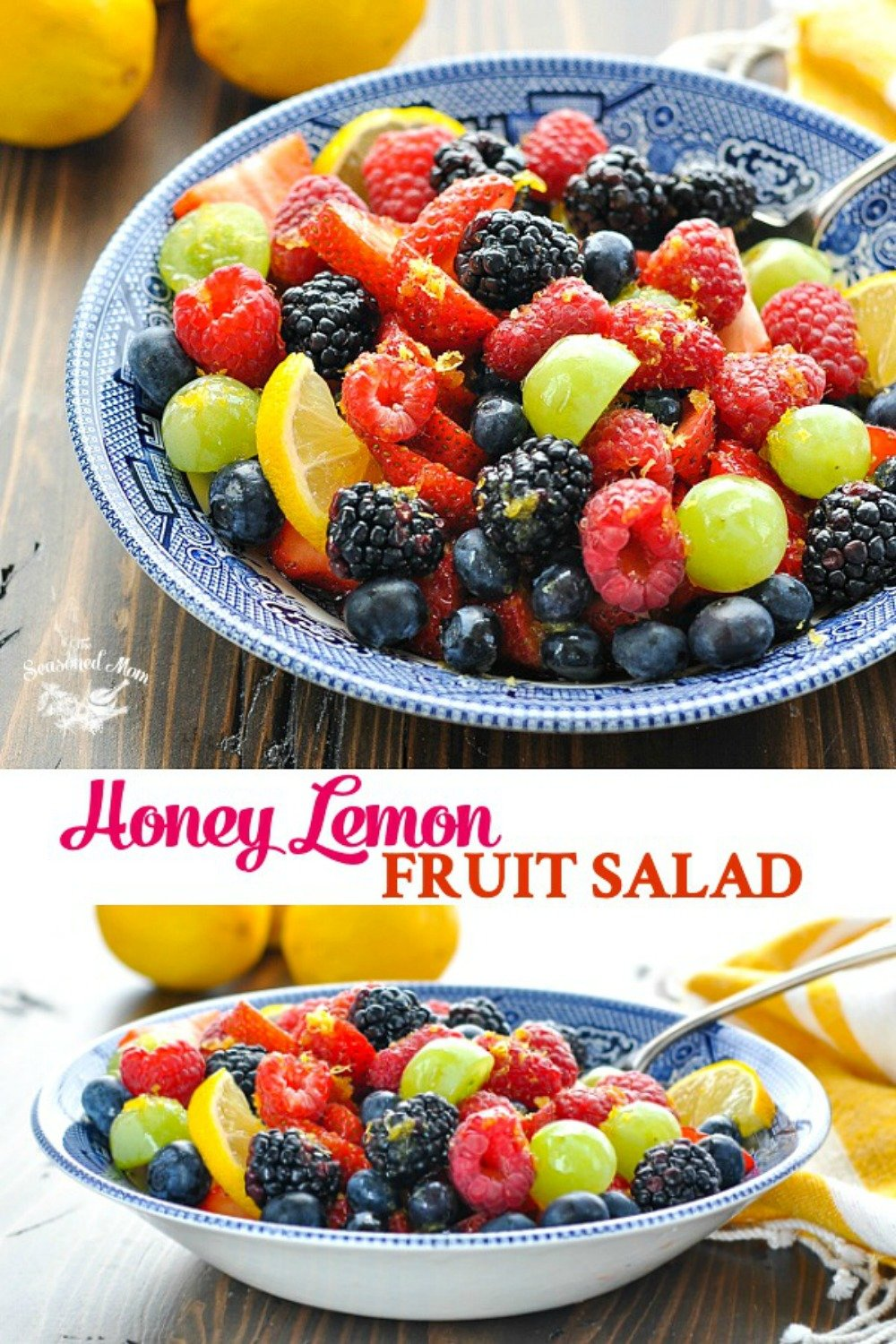 Long collage of Honey Lemon Fruit Salad